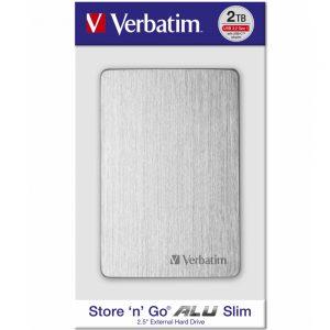 Verbatim Store'n'Go Alu slim HDD, 2TB, USB-C, srebrni